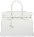 "Luxury Accessories:Bags, Hermès 35cm White Clemence Leather Birkin Bag with Palladium Hardware. R Square, 2014. Condition: 2. 14"" Width x 1..."