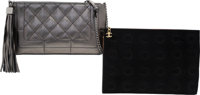 Chanel Set of Two: Silver Quilted Shoulder Bag & Black Ponyhair Clutch Condition: 2 See Extended