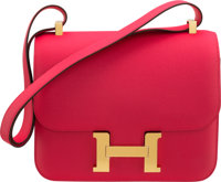 Hermès 24cm Rose Extreme Epsom Leather Constance Bag with Gold Hardware D, 2019 Condition: 1<