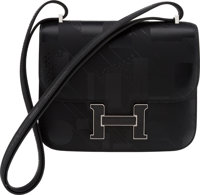 """Hermès Limited Edition 18cm Black Imprime Sombrero Leather """"On A Summer Night"""" Constance Bag with Palla..."""