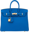 "Luxury Accessories:Bags, Hermès 25cm Blue Zellige Togo Leather Birkin Bag with Gold Hardware. C, 2018. Condition: 1. 10"" Width x 7"" Height ..."