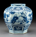 Ceramics & Porcelain:Chinese, A Chinese Blue and White Porcelain Hexagonal Jar, Ming Dynasty . 6-5/8 x 6-1/2 x 6-1/2 inches (16.8 x 16.5 x 16.5 cm). ...