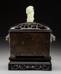 Carvings, A Chinese Bronze Censer with Carved Hardwood Stand and Cover with Carved Pale Celadon Jade Finial, Qing Dynasty. Marks: Four... (Total: 3 Items)