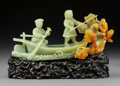 Carvings, A Chinese Carved Celadon and Russet Jade Boat on Carved Hardwood Stand, People's Republic. 4-1/2 x 9-1/2 x 2-3/4 inches (11....
