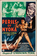 "Movie Posters:Serial, Perils of Nyoka (Republic, 1942). Folded, Very Fine-. One Sheet (27"" X 41"") Chapter 11 -- ""Unknown Peril."" Serial.. ..."