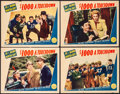 "Movie Posters:Comedy, $1000 a Touchdown (Paramount, 1939). Fine/Very Fine. Lobby Cards(4) (11"" X 14""). Comedy.. ... (Total: 4 Items)"
