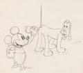 Animation Art:Production Drawing, Society Dog Show Mickey Mouse and Pluto Animation Drawing (Walt Disney, 1939). . ...