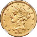 Liberty Half Eagles, 1839-C $5 -- Cleaned -- NGC Details. AU. Variety 1....