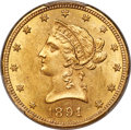 Liberty Eagles, 1891-CC $10 MS62 PCGS. CAC. Variety 1-A....