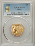 Indian Half Eagles, 1908 $5 MS63 PCGS Secure. PCGS Population: (1284/1067 and 25/95+). NGC Census: (1059/852 and 14/32+). MS63. Mintage 577,800...
