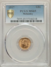 1917 G$1 McKinley Gold Dollar MS65 PCGS. PCGS Population: (646/518 and 10/36+). NGC Census: (290/223 and 5/6+). MS65. Mi...