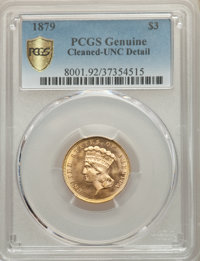 1879 $3 -- Cleaning -- PCGS Genuine Secure. Unc Details. NGC Census: (5/231 and 0/9+). PCGS Population: (5/384 and 0/25+...