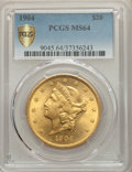 Liberty Double Eagles: , 1904 $20 MS64 PCGS Secure. PCGS Population: (36648/5722 and 1455/258+). NGC Census: (38812/7419 and 712/130+). MS64. Mintag...
