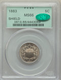 Shield Nickels, 1883 5C MS66 PCGS. CAC. PCGS Population: (127/18). NGC Census: (77/18). MS66. Mintage 1,456,919. . From The Cody Brady ...