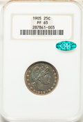 Proof Barber Quarters, 1905 25C PR65 NGC. CAC. Housed in a former generation holder. NGC Census: (51/61). PCGS Population: (54/47). PR65. Mintage ...