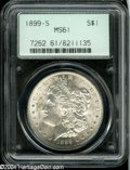1899-S $1 MS61 PCGS. Sharply struck and brilliant, with frosty coruscating luster on both sides and a somewhat scuffy ob...