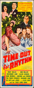 "Movie Posters:Comedy, Time Out for Rhythm (Columbia, 1941). Folded, Very Fine-. Insert(14"" X 36""). Comedy.. ..."