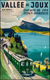 "Valee de Joux Pont-Brassus Railway (1959). Rolled, Very Fine. French Travel Poster (25.25"" X 40.25"") Louis Kol..."