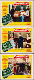 """Movie Posters:Comedy, How to Marry a Millionaire (20th Century Fox, 1953). Fine/VeryFine. Lobby Cards (3) (11"""" X 14""""). Comedy.. ... (Tot..."""