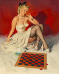 Paintings, Gil Elvgren (American, 1914-1980). Check and Double Check (Now Don't Get Me in a Corner), 1946. Oil on canvas. 24 x 30 i...