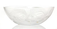 A Lalique Frosted Glass Bowl, post-1945 Marks: Lalique®,France 4-1/4 x 11-1/2 x 6-1/4 inches (10.8 x 29.2 x 15.9 cm)...
