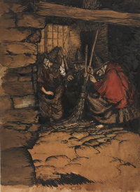 Arthur Rackham (British Artist and Illustrator, 1867-1939). And There Were Gossips Sitting There by One, by Two