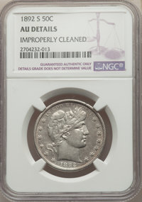 1892-S 50C -- Improperly Cleaned -- NGC Details. AU. NGC Census: (3/113). PCGS Population: (18/197). CDN: $750 Whsle. Bi...