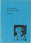 Books:Mystery & Detective Fiction, G. K. Chesterton. The Vampire of the Village. [Place of publication not identified]: Privately printed, 1947. First ...