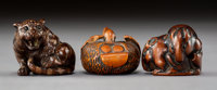 A Group of Three Boxwood Netsuke Marks to two: character inscription 1-1/4 x 1-1/4 x 1-1/4 inches (3.2 x 3.2 x