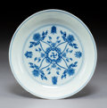 Ceramics & Porcelain, A Chinese Blue and White Porcelain Dish, Qing Dynasty, 19th century . Marks: Six-character Chenghua mark and of a later peri...
