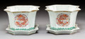 Ceramics & Porcelain:Chinese, A Pair of Chinese Enameled Porcelain Phoenix and Dragon Planters with Undertrays, Republic Period. Marks: Six-ch... (Total: 4 Items)