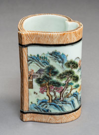 A Chinese Enameled Porcelain Brush Pot, Republic Period Marks: Six-character Qianlong seal mark in red enamel and