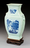 Ceramics & Porcelain:Chinese, A Chinese Blue and Celadon Glazed Porcelain Hu Vase, Qing Dynasty, 18th-19th century. 14-1/2 x 9-1/2 x 3-1/2 inches (36.8 x ...