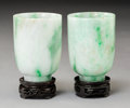Carvings:Chinese, A Pair of Chinese Jadeite Cups, Republic Period. 2-1/2 x 1-3/4 x 1-3/4 inches (6.4 x 4.4 x 4.4 cm) (each). ... (Total: 2 Items)