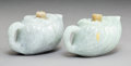 Carvings:Chinese, A Group of Two Chinese Jadeite Cabbage-Form Teapots. 2-1/2 x 3-3/4 x 2 inches (6.4 x 9.5 x 5.1 cm) (each). ... (Total: 2 Items)