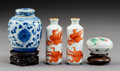 Ceramics & Porcelain:Chinese, A Group of Small Chinese Porcelain Objects, Qing Dynasty, 19th Century. Mark: (fungus) each snuff bottle. 2-3/4 x 2 x 2 inch... (Total: 4 Items)