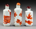 Ceramics & Porcelain:Chinese, A Group of Three Chinese Red and White Glaze Porcelain Fish Snuff Bottles. Marks: Four-character Tongzhi mark not of the per... (Total: 3 Items)
