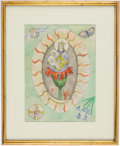 Books:Original Art, Frieda Lawrence (1879-1956, German Author, Wife of D. H. Lawrence). Original Watercolor of a Religious Subject. [Place of cr...