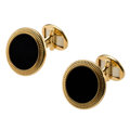 Estate Jewelry:Cufflinks, Black Onyx, Gold Cuff Links, Patek Philippe. ...