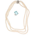 Estate Jewelry:Lots, Aquamarine, Cultured Pearl, White Gold Jewelry . ... (Total: 2 Items)