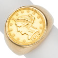 Estate Jewelry:Rings, Gentleman's US Liberty Gold Coin, Gold Ring. ...