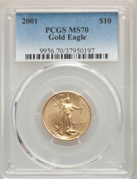 2001 $10 Quarter-Ounce Gold Eagle MS70 PCGS. PCGS Population: (45). NGC Census: (561). CDN: $700 Whsle. Bid for problem-...
