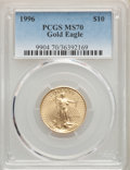 Modern Bullion Coins, 1996 $10 Quarter-Ounce Gold Eagle MS70 PCGS. PCGS Population: (58). NGC Census: (298). CDN: $1,000 Whsle. Bid for problem-f...