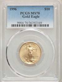1996 $10 Quarter-Ounce Gold Eagle MS70 PCGS. PCGS Population: (58). NGC Census: (298). CDN: $1,000 Whsle. Bid for proble...