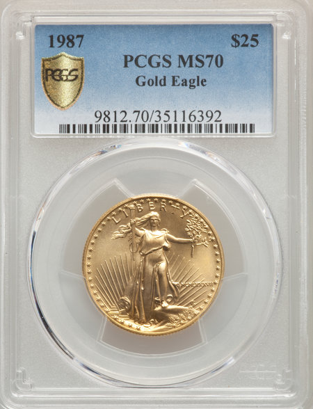 1987 $25 Half-Ounce Gold Eagle, MS PCGS Secure 70 PCGS