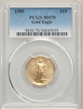 1989 $10 Quarter-Ounce Gold Eagle MS70 PCGS. PCGS Population: (64). NGC Census: (252). CDN: $1,200 Whsle. Bid for proble...