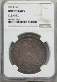 1853 $1 -- Cleaned -- NGC Details. Unc. OC-1, R.2