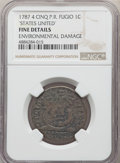 1787 CENT Fugio Cent, STATES UNITED, 4 Cinquefoils, Pointed Rays, -- Environmental Damage -- NGC Details. Fine. NGC Cens...