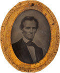 "Political:Ferrotypes / Photo Badges (pre-1896), Abraham Lincoln: A Superb, Choice Example of the Iconic George Clark 1860 Campaign Ambrotype, Measuring 2.125"" x 2.5"". ..."