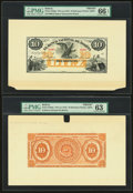 World Currency, Bolivia Banco Nacional de Bolivia 10 Bolivianos 187x (ca. 1874) Pick S193fp; S193bp Front And Back Proofs PMG Gem Uncircul... (Total: 2 notes)
